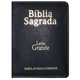 Bíblia Sagrada Média com Zíper | Letra Normal ARC | Harpa Avivada e Corinhos | PU Preto