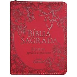 Bíblia Sagrada Média com Zíper | Letra Normal ARC | Harpa Avivada e Corinhos | PU Vermelho