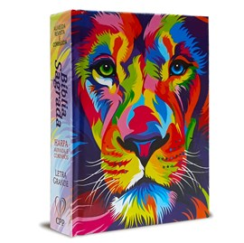 Bíblia Sagrada Média Lion Color | Letra Normal ARC | Harpa Avivada e Corinhos | Capa Dura