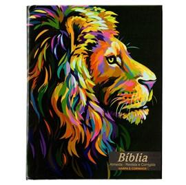 Bíblia Sagrada Média Lion Color Pintura | ARC | Letra Normal | Capa Dura