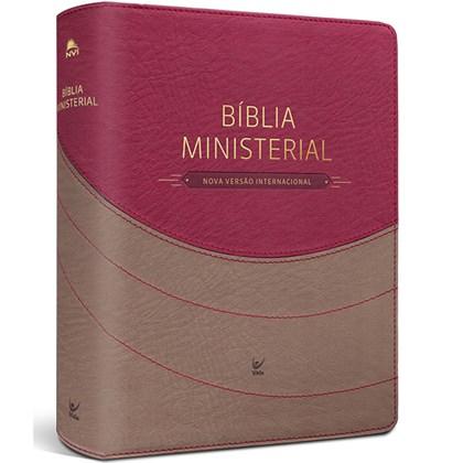Bíblia Sagrada Ministerial   NVI   Marrom Claro e Vemelho   c/ Índice