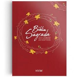 Bíblia Sagrada Nova Ortográfia Vermelha | NVI | Letra Normal | Brochura Duas Cores
