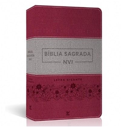 Bíblia Sagrada   NVI Letra Gigante   Luxo Rosa e Cinza