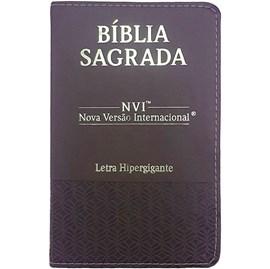 Bíblia Sagrada   NVI   Letra Hipergigante   Capa Luxo Marrom