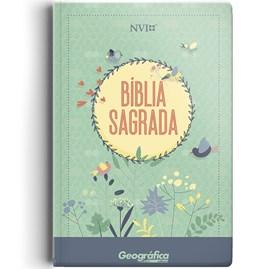 Bíblia Sagrada   NVI   Letra Normal   Capa Semi-luxo Verde Água Flores