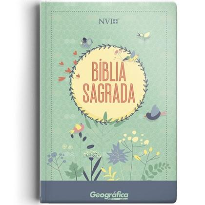 Bíblia Sagrada | NVI | Letra Normal | Capa Semi-luxo Verde Água Flores