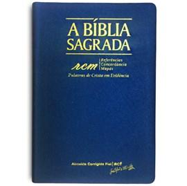 Bíblia Sagrada RCM   ACF   Letra Gigante   Capa PU Luxo Azul C/ Índice