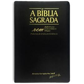 Bíblia Sagrada RCM   ACF   Letra Gigante   Capa PU Luxo Preta C/ Índice
