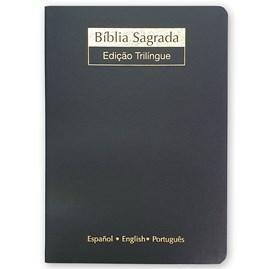 Bíblia Sagrada Trilíngue | NVI Extra Gigante | Letra Normal | Capa Luxo Preta