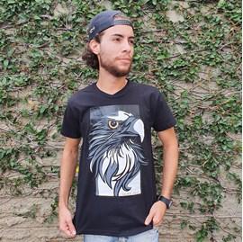 Camiseta Águia Retrato | Preta | Pecado Zero