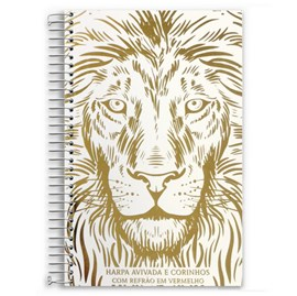 Harpa Avivada e Corinhos Leão Branco e Dourado Luxo | Capa Dura Espiral