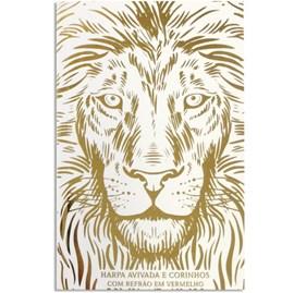 Harpa Avivada e Corinhos Leão Luxo Branca | Letra Hipergigante | Capa Dura