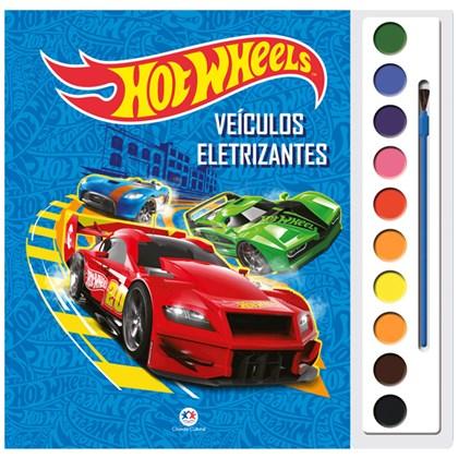 Livro com Aquarela Hot Wheels Veículos Eletrizantes