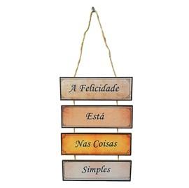 Placa de cordas MDF   A Felicidade Está Nas Coisas Simples