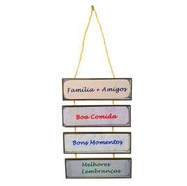 Placa de cordas MDF | Familia Mais Amigos Boa Comida Bons Momentos Melhores Lembranças