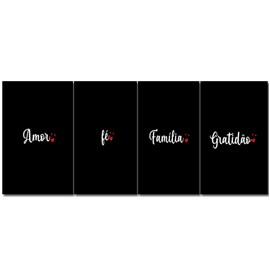 Quadro Canvas Personalizado A4 | Amor, Fé, Família, Gratidão