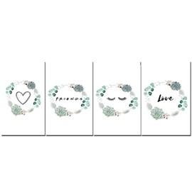 Quadro Canvas Personalizado A4 | Flores Verdes