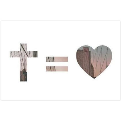 Quadro Decorativo Personalizado A4 | Cruz = Amor