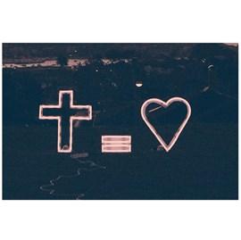 Quadro Decorativo Personalizado A4 | Cruz = Amor | Desenho