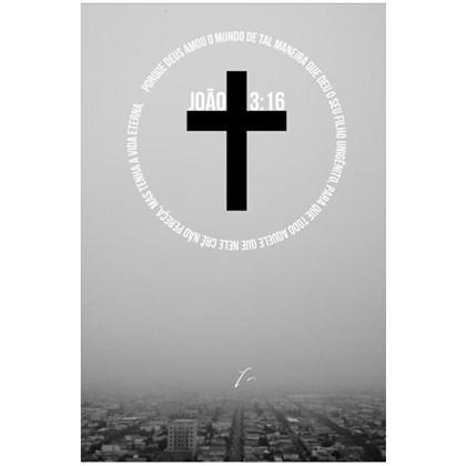 Quadro Decorativo Personalizado A4   Cruz João 3:16