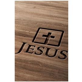 Quadro Decorativo Personalizado A4 | Jesus Cruz Madeira