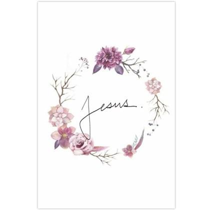Quadro Decorativo Personalizado A4 | Jesus Floral