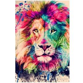 Quadro Decorativo Personalizado A4 | Leão Aquarela Color