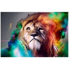 Quadro Decorativo Personalizado A4 | Leão Colorido
