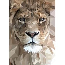 Quadro Decorativo Personalizado A4 | Leão Geométrico