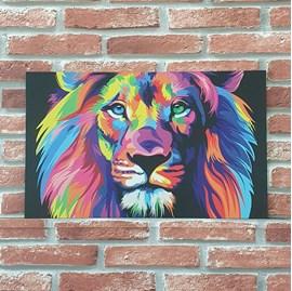 Quadro MDF Leão Colorido (Lion Color) Horizontal   A3   UV