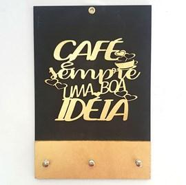 Quadro Porta Chaves | Café é sempre uma boa ideia | Dourado